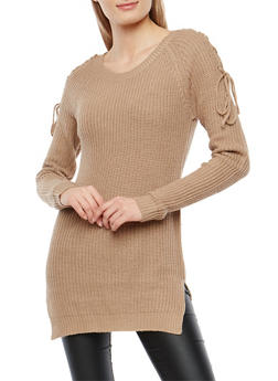 Tunic Sweater with Lace Up Shoulder Details - 1020038349120