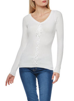 Rib Knit Faux Lace Up Sweater - IVORY - 1020051060003
