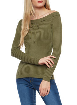 Rib Knit Off the Shoulder Sweater - 1020051060004