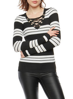 Striped Rib Knit Lace Up Neck Sweater - 1020051060005