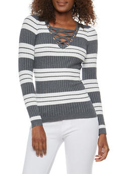 Striped Rib Knit Lace Up Neck Sweater - 1020051060005