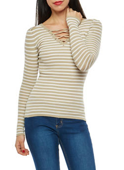 Striped Caged Neck Sweater - 1020051060006