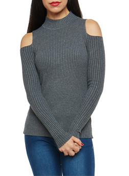 Mock Neck Cold Shoulder Sweater - 1020051060007