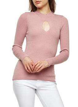Ribbed Knit Keyhole Sweater - 1020051060009