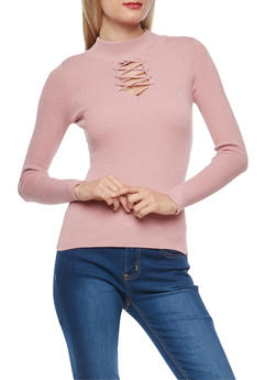 Ribbed Knit Criss Cross Keyhole Sweater - 1020051060010