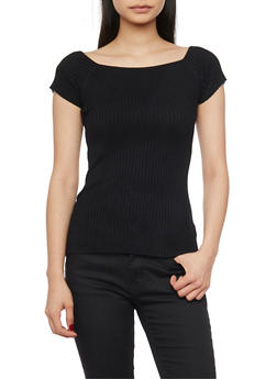 Short Sleeve Rib Knit Sweater - 1020054266837