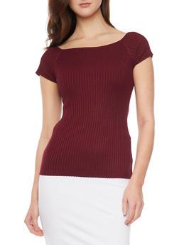 Short Sleeve Rib Knit Sweater - BURGUNDY - 1020054266837