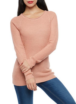 Long Sleeve Waffle Knit Sweater - 1020054266907