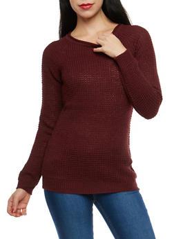 Long Sleeve Waffle Knit Sweater - 1020054266907