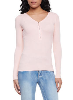 Ribbed Sweater with Zippered V Neck - 1020054268683