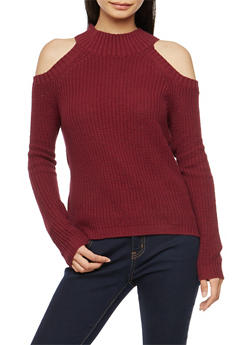 Chunky Knit Cold Shoulder Sweater - 1020054268827