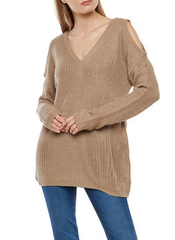 Long Sleeve Cold Shoulder Sweater - 1020054268838