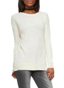 Oversized Crew Neck Sweater with Zipper Accent - 1020054269175