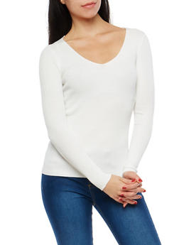 Long Sleeve Rib Knit Sweater - 1020054269214