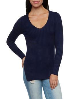 Rib Knit V Neck Sweater - 1020054269814