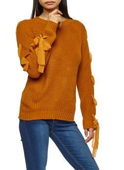 Chiffon Lace Up Sleeve Knit Sweater - 1020069391537