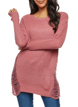 Distressed Sides Knit Sweater - 1020074050870