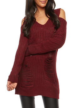 Distressed Cold Shoulder Chunky Knit Sweater - 1020074050873