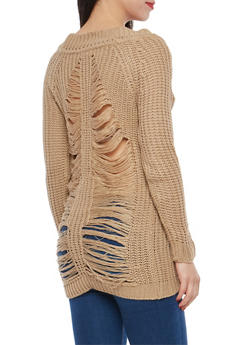 Slashed Back Chunky Knit Sweater - 1020074052036