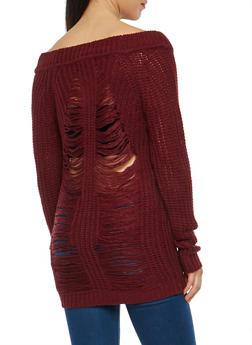 Slashed Back Chunky Knit Sweater - 1020074052036