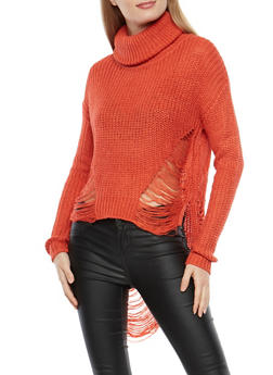 Cropped High Low Distressed Turtleneck Sweater - 1020074280900