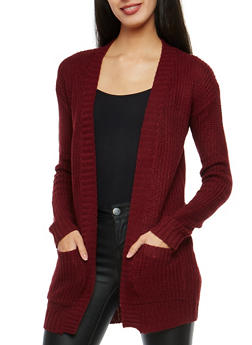 Open Front Burgundy Cardigan - 1022038341205