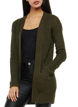 Olive Open Front Cardigan - 1022038343205