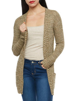 Two Tone Open Front Knit Cardigan - 1022038343207
