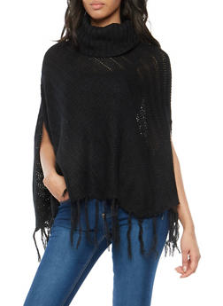 Cowl Neck Poncho with Fringe - 1022038346158