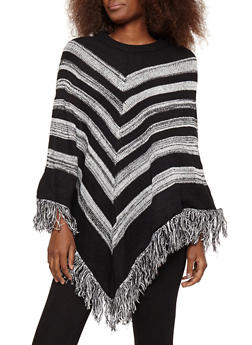 Striped Fringe Poncho - 1022038346159