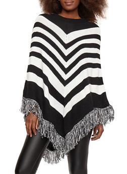 Striped Fringe Poncho - BLACK/WHITE - 1022038346159