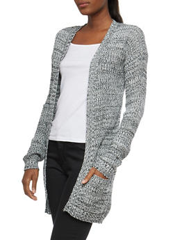 Marled Knit Open Front Cardigan - 1022038347207