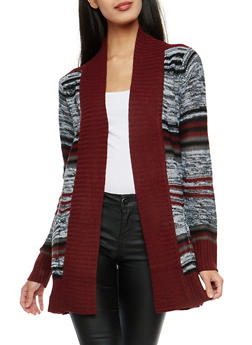 Striped Open Front Cardigan - 1022038347212