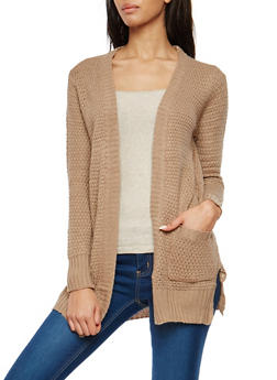 Chunky Knit Open Front Cardigan - 1022038347213