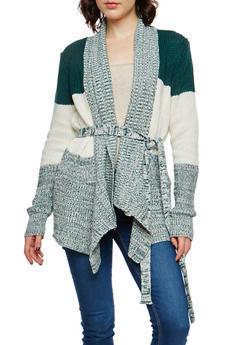 Striped Shawl Collar Knit Cardigan - 1022038347216