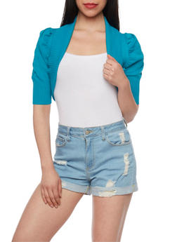 Solid Ribbed Trim Shrug Sweater - 1022054261626