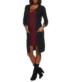 Open Front Waffle Knit Duster with Pockets - 1022054267818