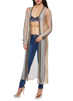 Multi Color Striped Metallic Mesh Knit Duster - 1022062120040
