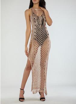 Distressed Metallic Mesh Maxi Dress - 1022062123017