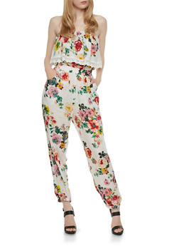 Tube Jumpsuit with Floral Print and Crochet - 1045038347325
