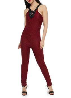 All Over Lace Jumpsuit - 1045038347850