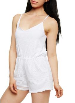 Sleeveless Crochet V Neck Romper - WHITE - 1045038347968