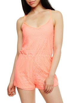 Sleeveless Crochet V Neck Romper - NEON CORAL - 1045038347968