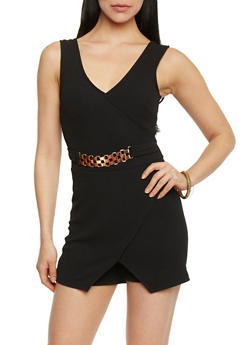 Sleeveless V Neck Faux Wrap Front Romper - 1045038347972