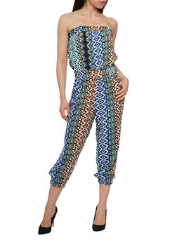 Printed Strapless Capri Jumpsuit with Smocked Waist - 1045038348302