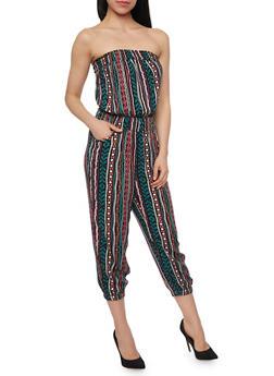 Strapless Printed Capri Jumpsuit - 1045038348303