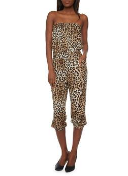Strapless Leopard Print Smock Waist Jumpsuit - 1045038348305