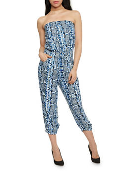 Printed Strapless Capri Jumpsuit with Smocked Details - 1045038348306