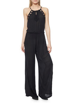 Embroidered Tie Neckline Gauze Knit Jumpsuit - BLACK - 1045038348321