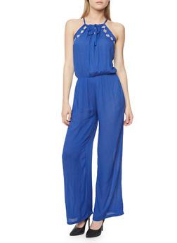 Embroidered Tie Neckline Gauze Knit Jumpsuit - RYL BLUE - 1045038348321